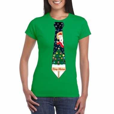 Fout kerst t shirt groen met kerstboom stropdas voor dames