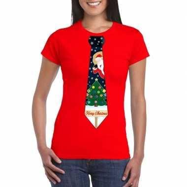 Fout kerst t shirt rood met kerstboom stropdas voor dames