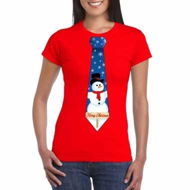 Fout kerst t shirt rood met sneeuwpop stropdas voor dames