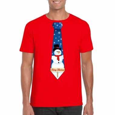Fout kerst t shirt rood met sneeuwpop stropdas voor heren