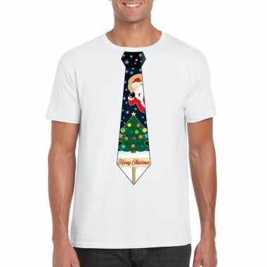 Fout kerst t shirt wit met kerstboom stropdas voor heren