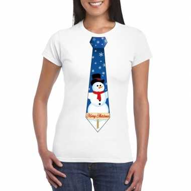 Fout kerst t shirt wit met sneeuwpop stropdas voor dames
