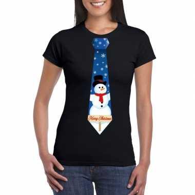 Fout kerst t shirt zwart met sneeuwpop stropdas voor dames