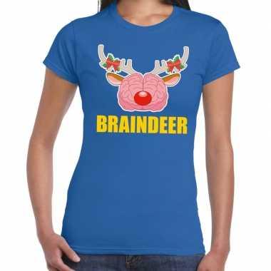 Foute kerst t shirt braindeer blauw voor dames