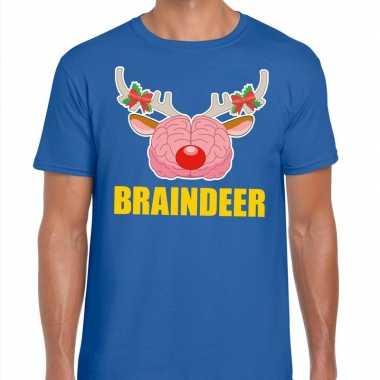 Foute kerst t shirt braindeer blauw voor heren
