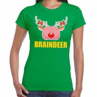 Foute kerst t shirt braindeer groen voor dames