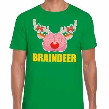 Foute kerst t shirt braindeer groen voor heren