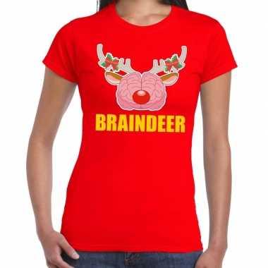Foute kerst t shirt braindeer rood voor dames