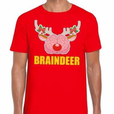 Foute kerst t shirt braindeer rood voor heren