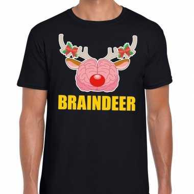 Foute kerst t shirt braindeer zwart voor heren