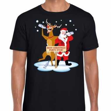 Foute kerst t shirt dronken kerstman en rudolf zwart heren