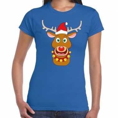 Foute kerst t shirt kerstman en rendier rudolf blauw dames