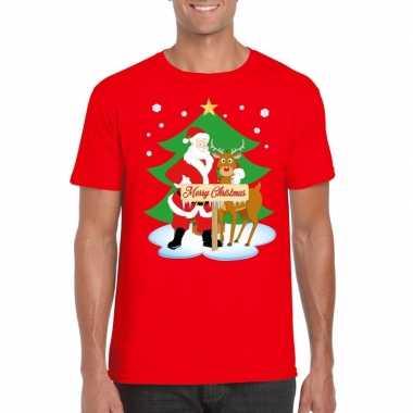 Foute kerst t shirt kerstman en rendier rudolf rood heren