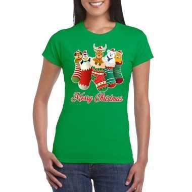 Foute kerst t shirt kerstsokken merry christmas groen voor dames
