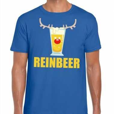 Foute kerst t shirt reinbeer blauw voor heren