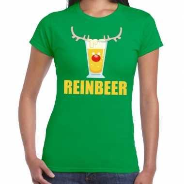 Foute kerst t shirt reinbeer groen voor dames