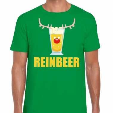 Foute kerst t shirt reinbeer groen voor heren