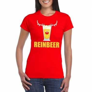 Foute kerst t shirt reinbeer rood voor dames