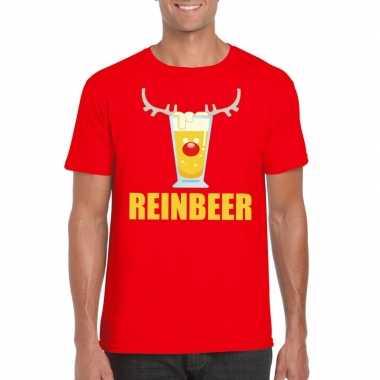 Foute kerst t shirt reinbeer rood voor heren