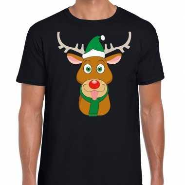 Foute kerst t shirt rendier rudolf groene kerstmuts zwart dames