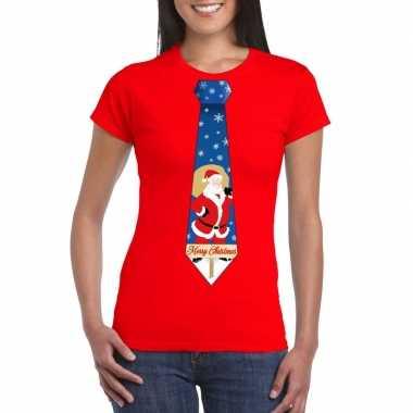 Foute kerst t shirt stropdas met kerstman print rood voor dames