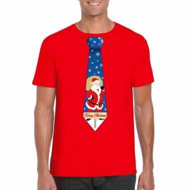 Foute kerst t shirt stropdas met kerstman print rood voor heren