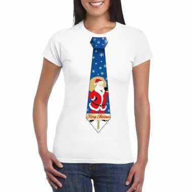 Foute kerst t shirt stropdas met kerstman print wit voor dames