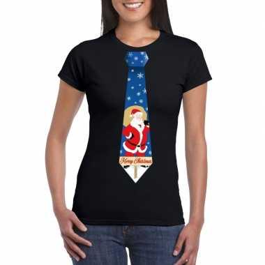 Foute kerst t shirt stropdas met kerstman print zwart voor dames