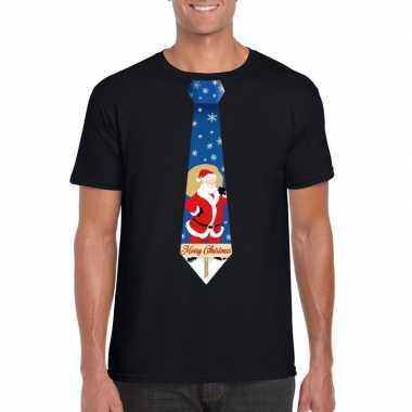 Foute kerst t shirt stropdas met kerstman print zwart voor heren