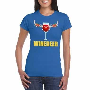 Foute kerst t shirt winedeer blauw voor dames