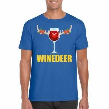 Foute kerst t shirt winedeer blauw voor heren
