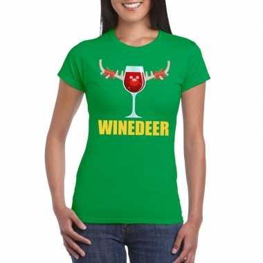 Foute kerst t shirt winedeer groen voor dames