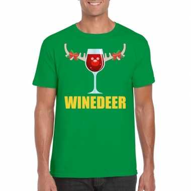 Foute kerst t shirt winedeer groen voor heren