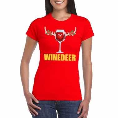 Foute kerst t shirt winedeer rood voor dames