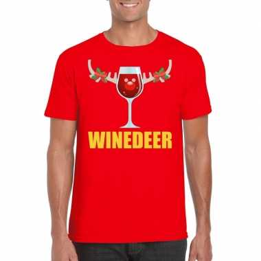 Foute kerst t shirt winedeer rood voor heren