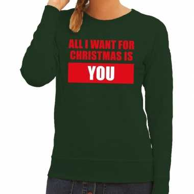 Foute kerstkersttrui all i want for christmas is you groen dames