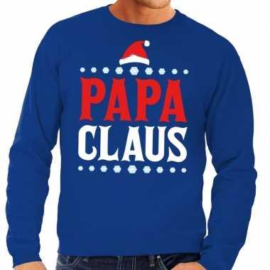 Foute kerstkersttrui blauw papa claus voor heren