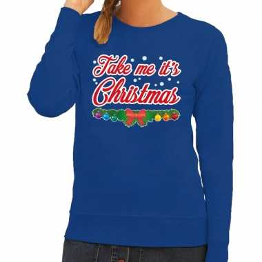 Foute kerstkersttrui blauw take me its christmas voor dames