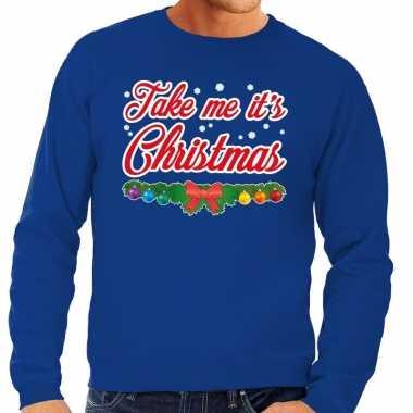Foute kerstkersttrui blauw take me its christmas voor heren