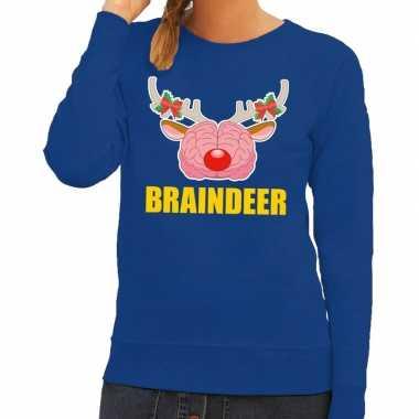 Foute kerstkersttrui braindeer blauw voor dames