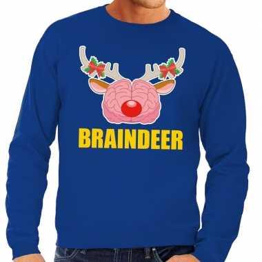 Foute kerstkersttrui braindeer blauw voor heren