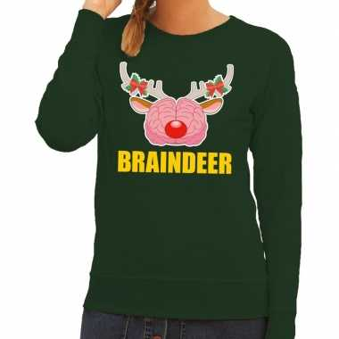 Foute kerstkersttrui braindeer groen voor dames