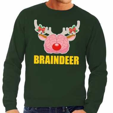Foute kerstkersttrui braindeer groen voor heren