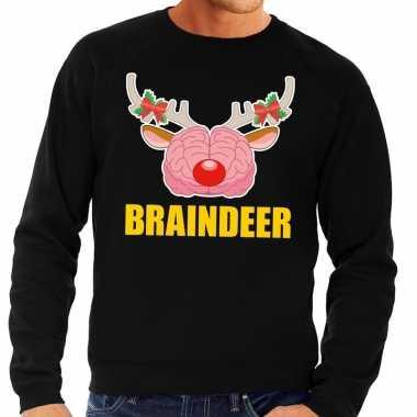 Foute kerstkersttrui braindeer zwart voor heren