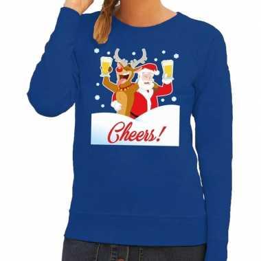 Foute kerstkersttrui cheers met dronken kerstman blauw dames