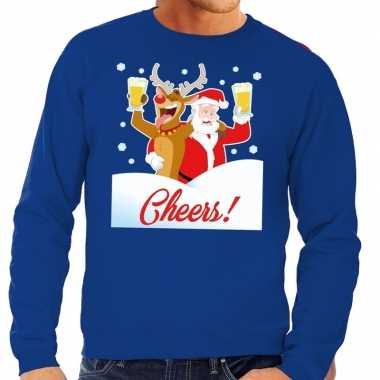 Foute kerstkersttrui cheers met dronken kerstman blauw heren