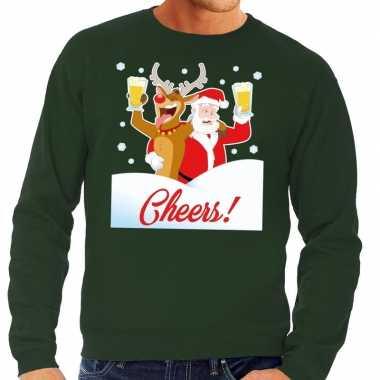 Foute kerstkersttrui cheers met dronken kerstman groen heren