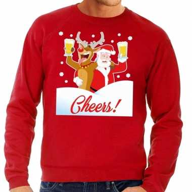 Foute kerstkersttrui cheers met dronken kerstman rood heren