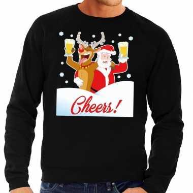 Foute kerstkersttrui cheers met dronken kerstman zwart heren