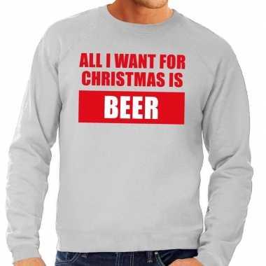 Foute kerstkersttrui christmas beer grijs voor heren